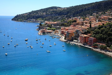 French riviera. View of Villefranche-sur-Mer, Cote d'Azur.