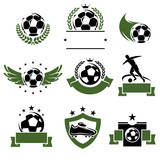 Football and soccer labels and icons set. Vector