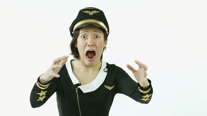 air hostess isolated on white scared screaming