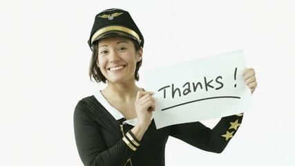 air hostess isolated on white grateful with thanks sign