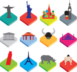flat isometric 3d  icons of famous world landmarks on white