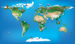 Постер, плакат: world map for childrens using cartoons of animals and famous lan