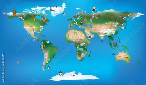 mapa świata dla dzieci używających kreskówek zwierząt i słynnego języka