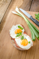 Fresh bread with eggs and ham