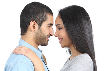 Profile of an arab couple looking each other