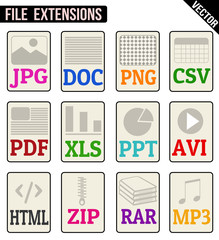 File types icons set