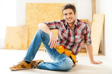 Handyman relaxing.