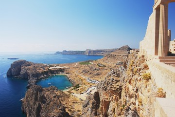 View of the Acropolis of Lindos, Rhodes, Greece