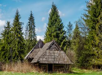 Deserted old houses. Photo taken in Poland