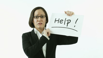 caucasian business woman isolated on white worried help sign
