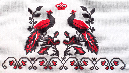 peacocks embroidered cross-stitch pattern, wedding towel, ethnic