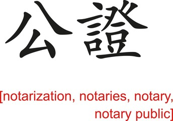 Chinese Sign for notarization, notaries, notary, notary public