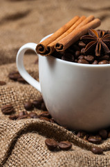 Coffee beans, aniseed and cinnamon in the coffee cup