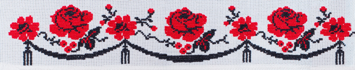 flowers embroidered cross-stitch pattern, ethnic ornament