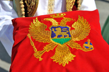 Montenegrin flag on pillow