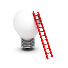 concept idea light bulb with red ladder