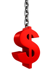 red dollar currency symbol on metal chain