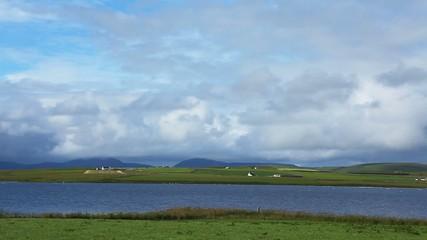 Big sky over fields in Orkney, Scotland