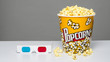 Popcorn bucket and 3d glasses