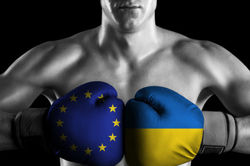 B&W fighter with Europe Union and Ukraine color gloves