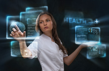 Doctor working virtual interface