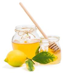 azahar honey in jars with lemon and blossom