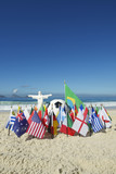International Country Flags Cristo Soccer Football Rio Brazil poster