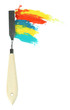 Painting palette knife with paints isolated on white