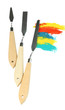 Painting palette knifes with paints isolated on white