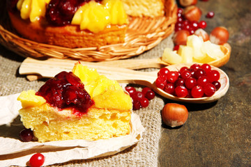 Tasty fruity homemade pie with berries and nuts,