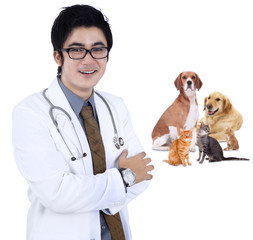 Asian vet smiling with pet