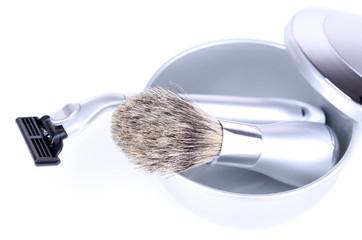 Male luxury shaving kit isolated on white