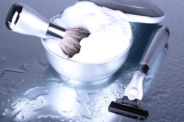 Male luxury shaving kit on gray background