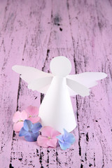 Christmas angel on color wooden background