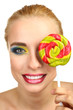 Beautiful woman with colorful lollipop, isolated on white