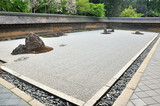 Zen garden, raked the stones of the Ryoanji Temple garden - 65697429