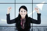 Businesswoman celebrating her accomplishment 1 poster