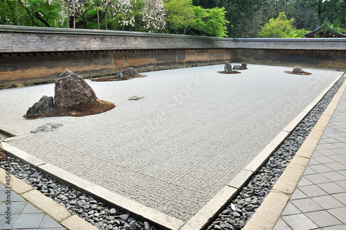 Zen garden, raked the stones of the Ryoanji Temple garden