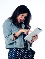 Young Beauty And Smart College Girl Study with pc tablet