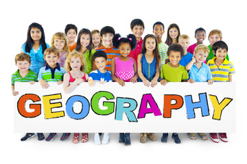 Diverse Cheerful Children Holding the Word Geography