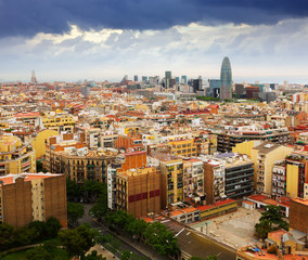 Barcelona city from Sagrada Familia.  Spain