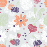 Flowers, vegetables and fruits seamless pattern