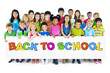 Large Group of People Holding Board with Back to School Concept