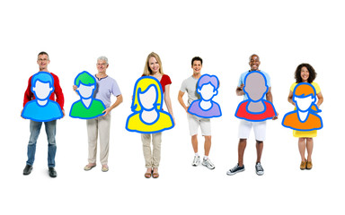 Small group of people holding avatars