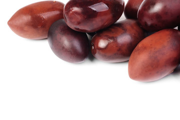 Kalamata olives isolated on white background