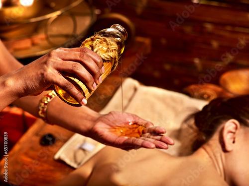 Woman having massage spa treatment. - 65700839