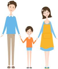 家族 手をつなぐ 笑顔