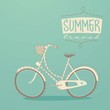 retro bicycle, summer promenade, vector illustration