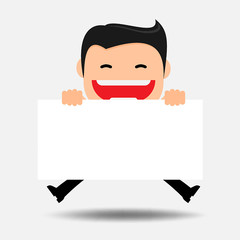 Idea concept.Vector Business man with empty white board