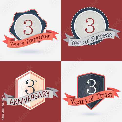 Set of Retro vector Stamps/Seal for 3rd business anniversary .